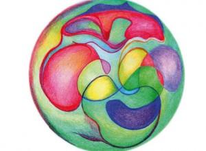 wereldbol, kleurpotlood op papier